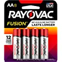 Rayovac 8Count Fusion AA Batteries, Premium Alkaline Double A Batteries