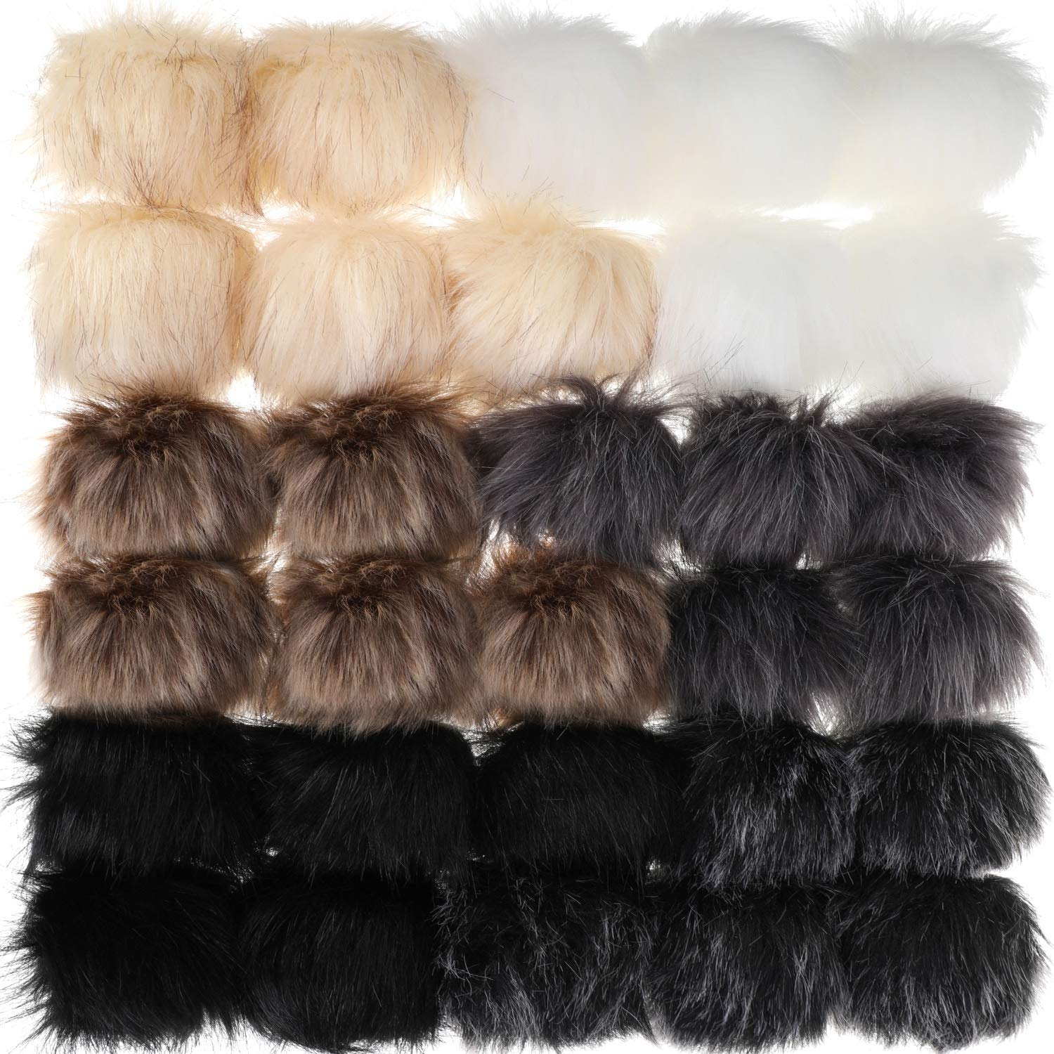 WILLBOND 30 Pieces Faux Fur Pom Pom Balls DIY Faux Fox Fur Fluffy Pom Pom with Elastic Loop for Hats Keychains Scarves Gloves Bags Accessories Farbe Set 1