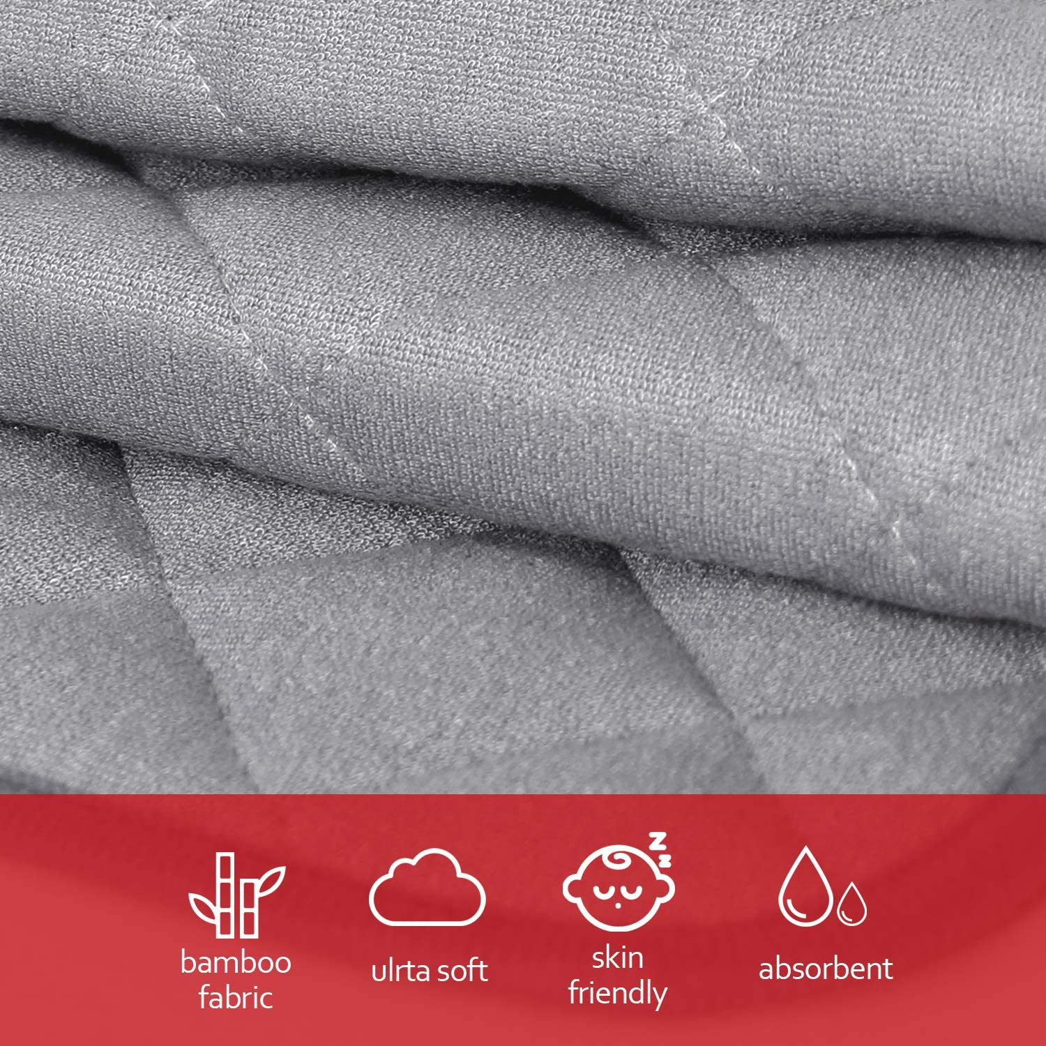 Ultra Absorbent Large Changing Pad Liners Grey Washable Changing Pad Liners 3 Pack, Waterproof Changing Table Cover, Bamboo Quilted with Non-Slip Back(14 x 27