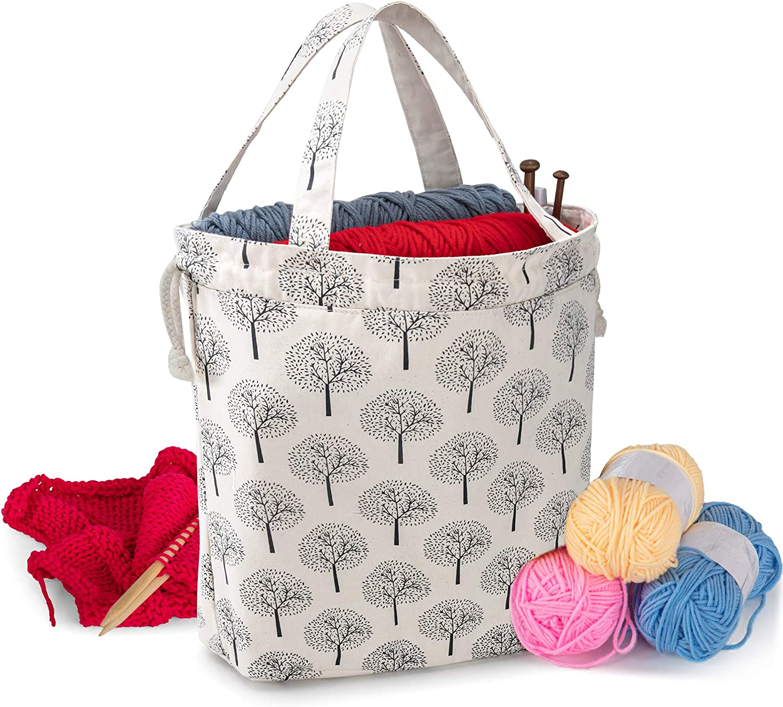 crochet bag Small knitting travel project bag-ready to ship velvet bucket bag- needle point bag cadeau f\u00eate des Mamans