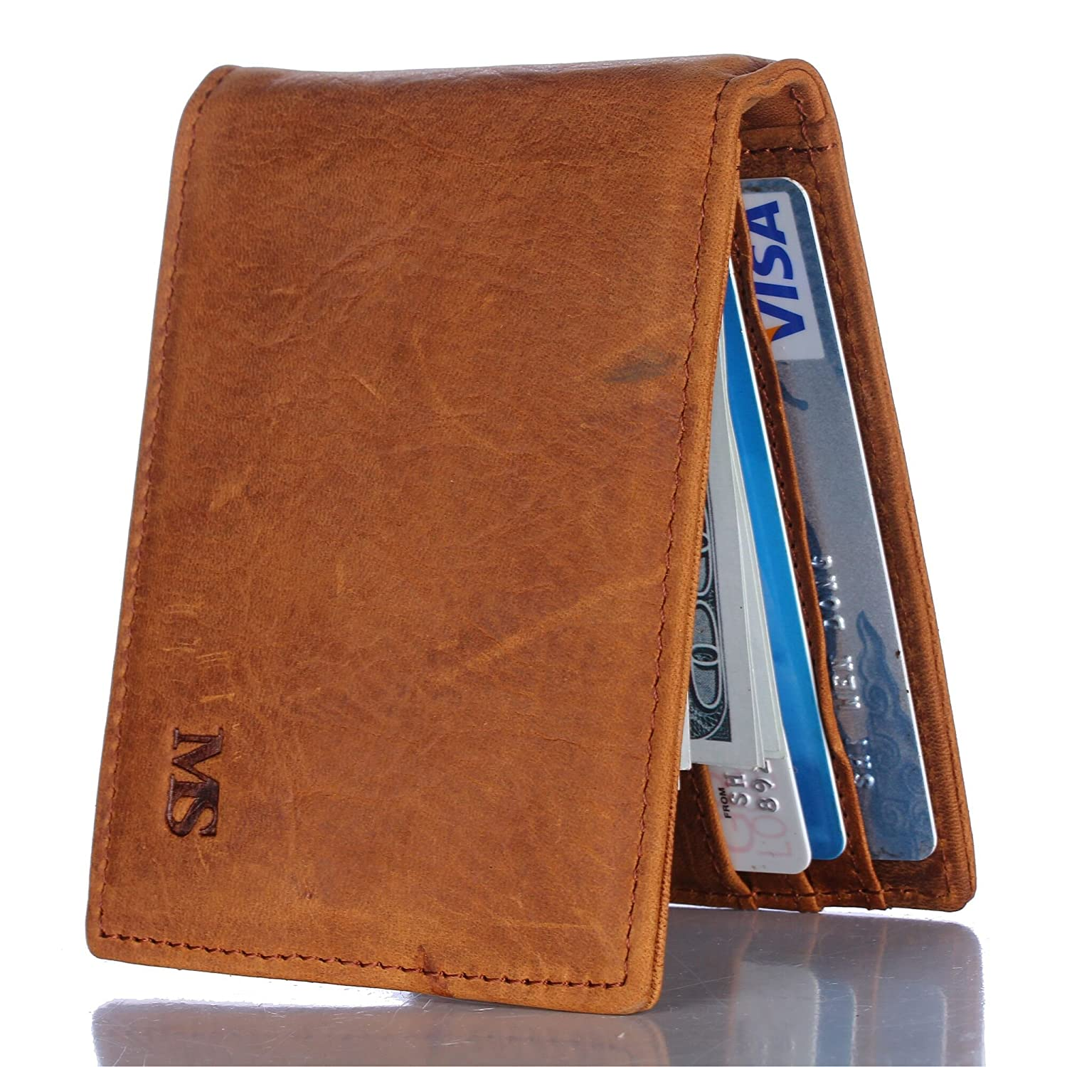 Win&Income Money Clip Wallet, Mens Wallets, Bifold Slim Leather Thin Clip Wallets, Brown