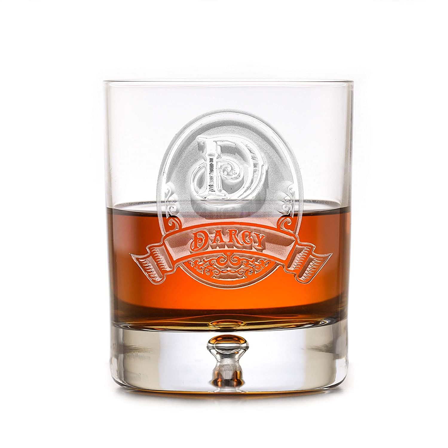 Scotch Lead Free Crystal Whiskey M8 Bourbon Rocks Glasses Engraved SET OF 4