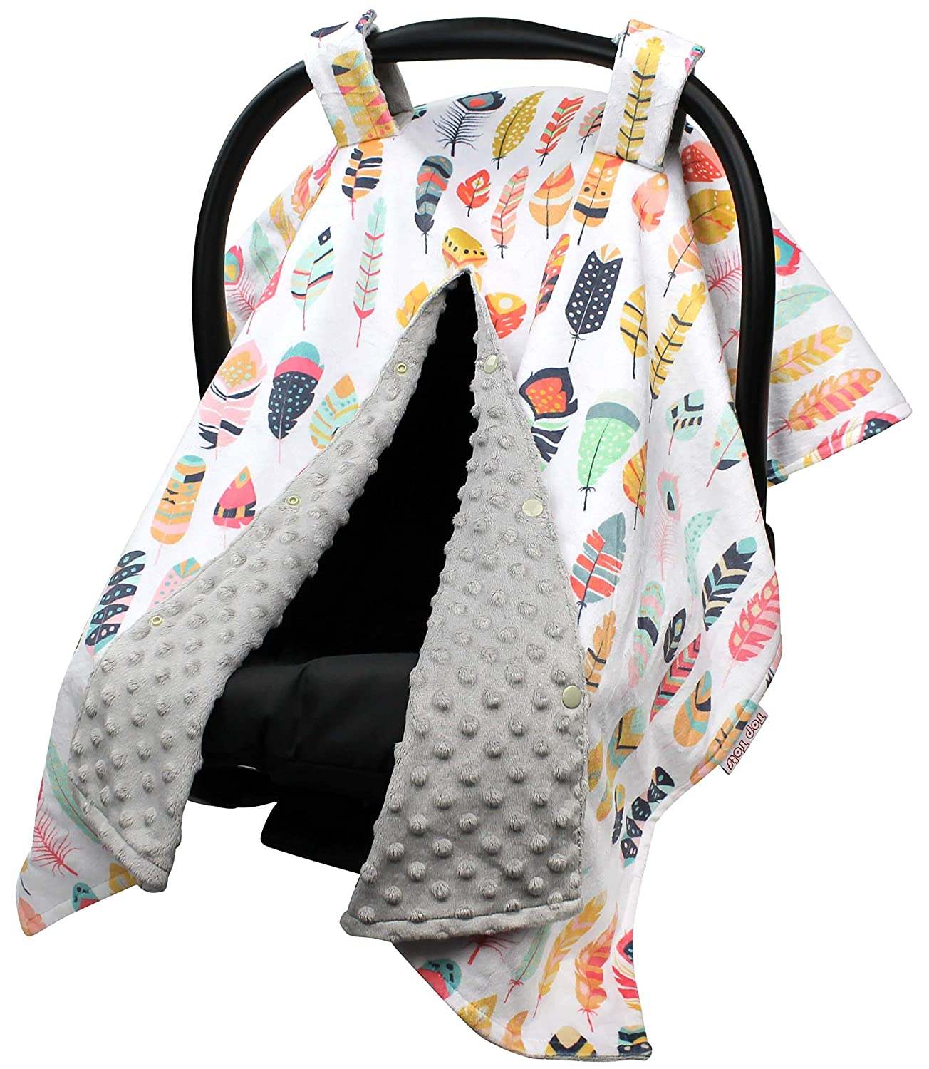 Top Tots Includes 1-Year Warranty, Arrows and Feathers Collection, Deluxe Car Seat Canopy, Assorted Feathers on White, 40 by 29 Inch