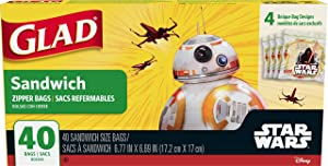 Glad Zipper Food Storage Bags - Star Wars Sandwich Bags - 40 Count