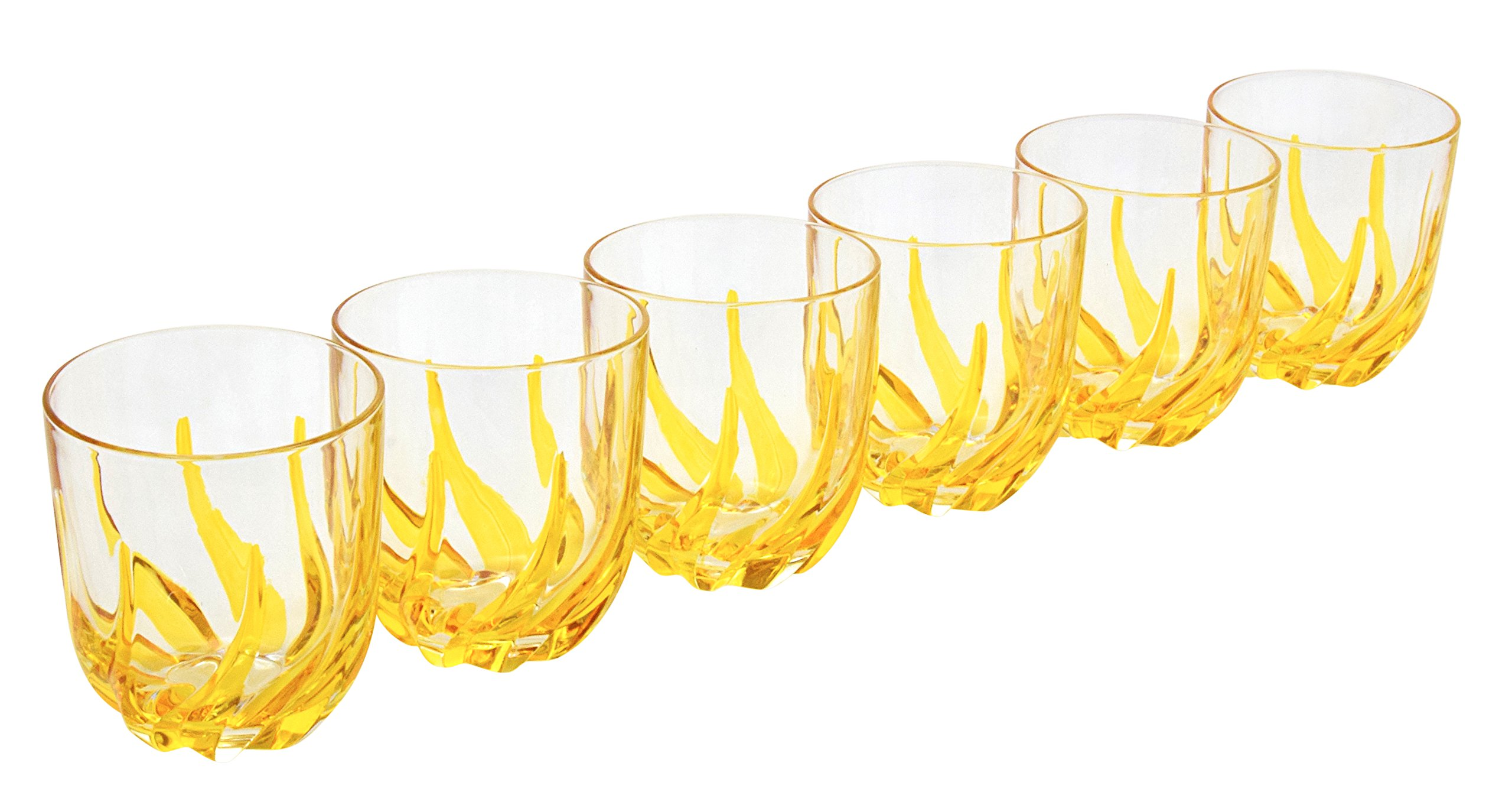 BICCHIERI TRIX ACQUA Water Drink Glasses Crystal Hand Painted Traditional Technique Colors Venice-Multi-colored