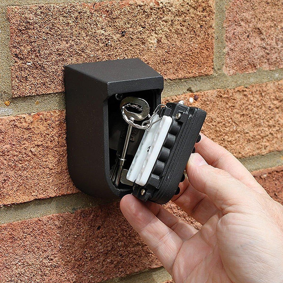 grigio STONCEL Key Storage Security Cassetta di sicurezza da parete per esterni Serratura a combinazione programmabile con codice combinato resistente allacqua e al solido