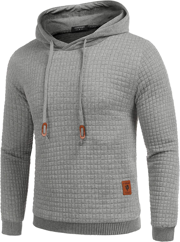 COOFANDY Mens Hooded Sweatshirt Hipster Gym Long Sleeve Drawstring Hooded Plaid Jacquard Pullover Hoodies