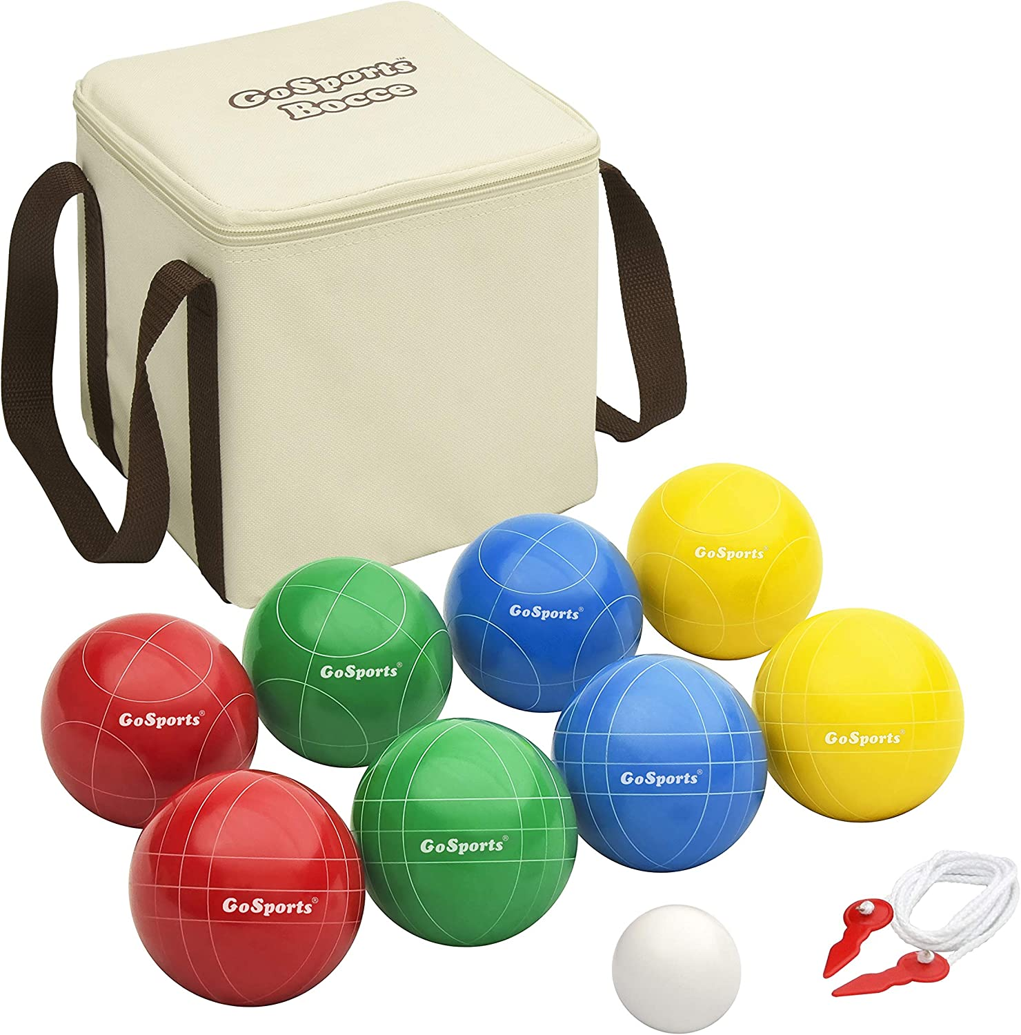 Amazon Com Gosports 90mm Backyard Bocce Set With 8 Balls Pallino Case And Measuring Rope Sports Outdoors