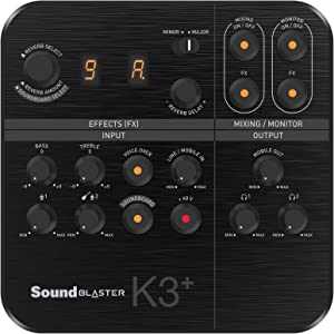 Creative Sound Blaster K3+ USB Powered 2 Channel Digital Mixer AMP/DAC/, Digital Effects XLR Inputs with Phantom Power / TRS / Z Line Inputs