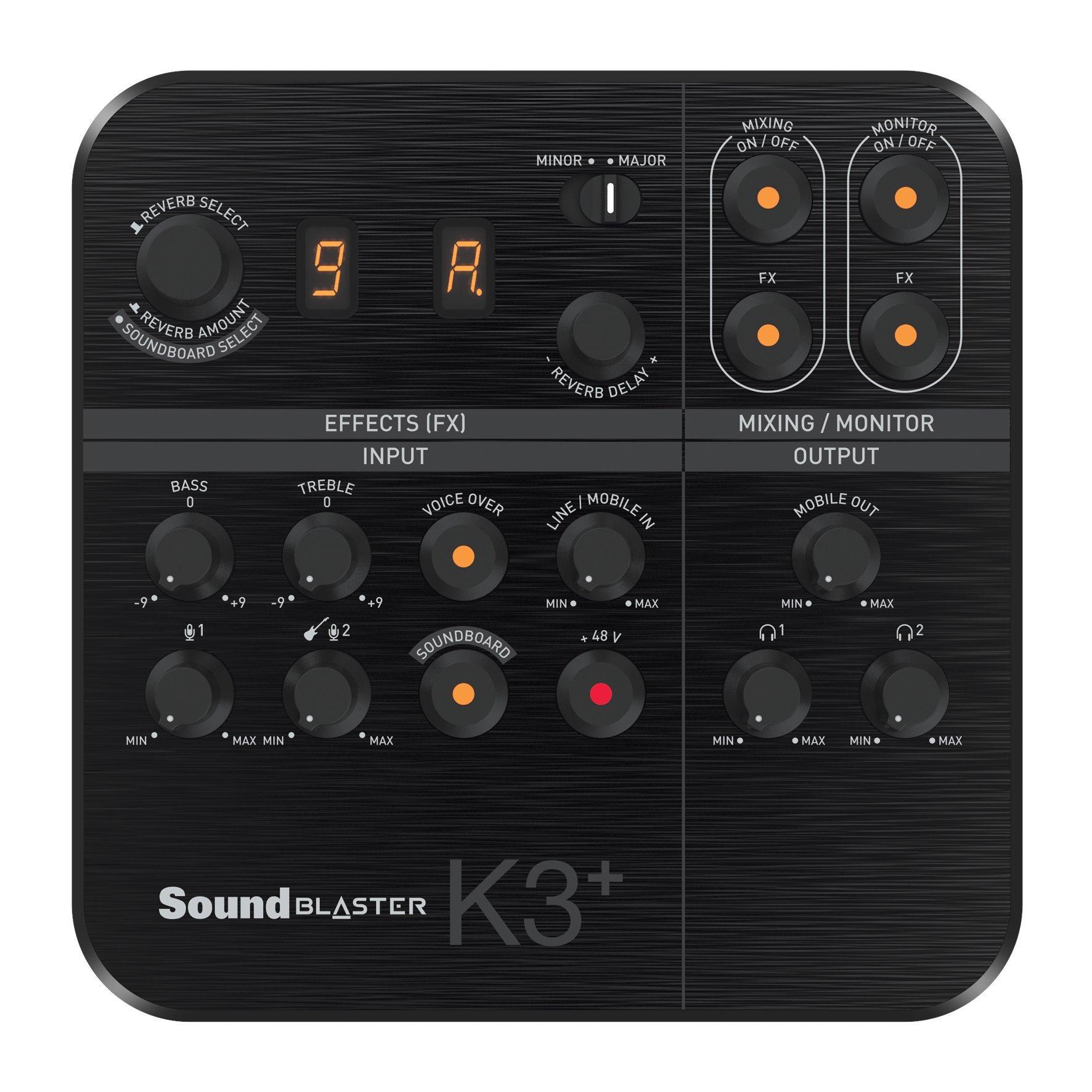 Creative Sound Blaster K3+ USB Powered 2 Channel Digital Mixer AMP/DAC/, Digital Effects XLR Inputs with Phantom Power / TRS / Z Line Inputs