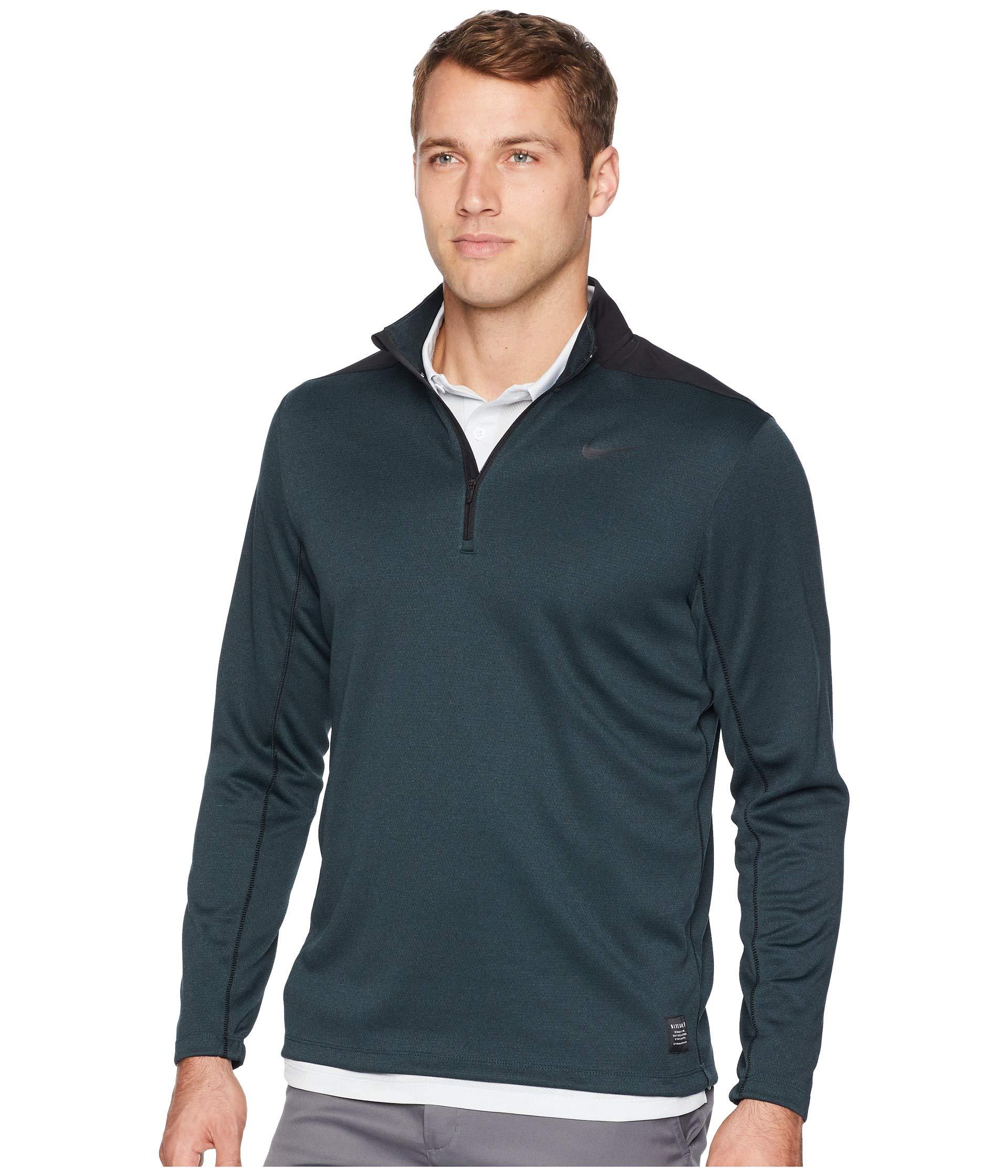 Nike Men's Dry Top Half Zip core Golf Top (Black Midnight Spruce, Small)