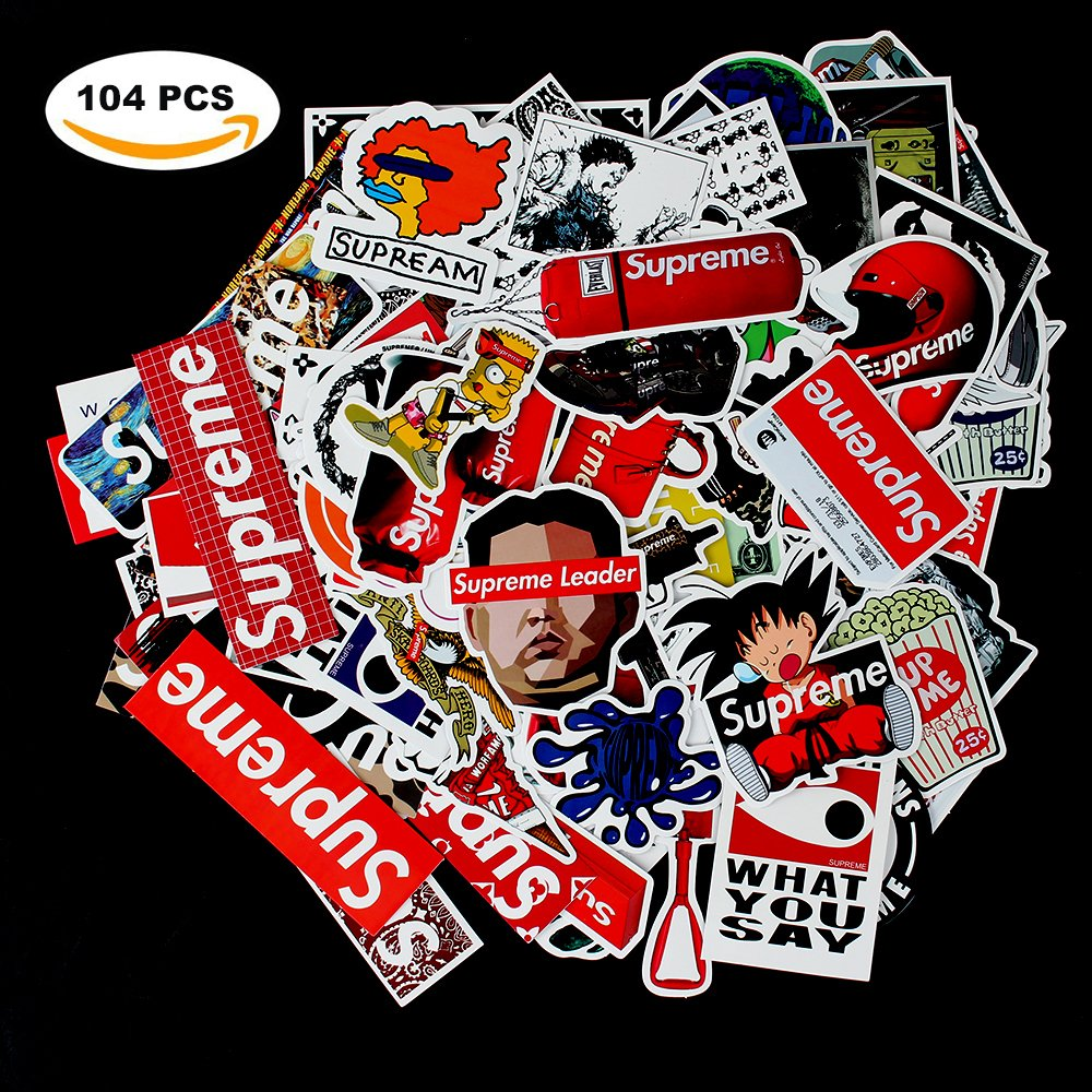 Sticker Decals - Supreme Laptop Vinyl Stickers car sticker For Snowboard Motorcycle Bicycle Phone Mac Computer DIY Keyboard Car Window Bumper Wall Luggage Decal Graffiti Patches