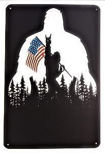 Bigfoot Rocks Sasquatch in The USA Bigfoot American Flag 8x12 Tin Sign Made from Aluminum. TS498