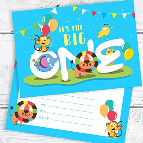 Olivia Samuel Blue 1st Birthday Party Invitations The Big One A6 Postcard Size With Envelopes Pack Of 10