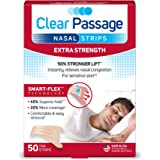Clear Passage Nasal Strips Extra Strength, Tan, 50 ct | Works Instantly to Improve Sleep, Reduce Snoring, Relieve Nasal Congestion Due to Colds & Allergies, Tan