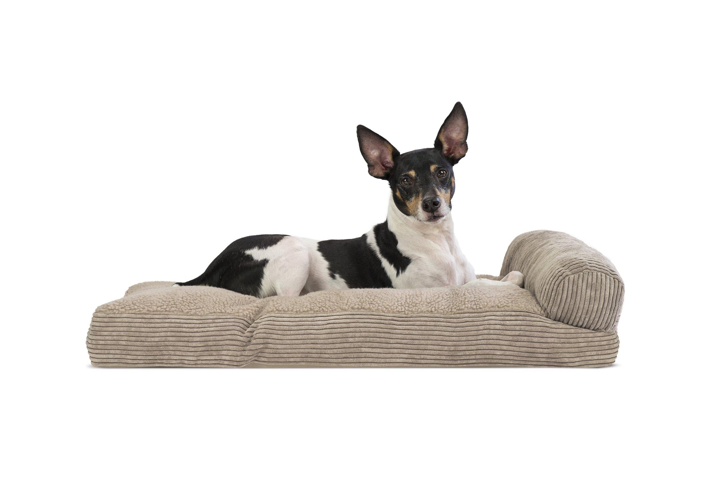 FurHaven Faux Fleece & Corduroy Chaise Lounge Pillow Sofa-Style Pet Bed, Medium, Sandstone