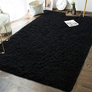 Soft Fluffy Bedroom Area Rugs - 5 x 8 Feet Indoor Modern Shaggy Plush Rug for Boys Kids Living Room Home Decor Luxury Large Accent Floor Carpet by AND BEYOND INC, Black