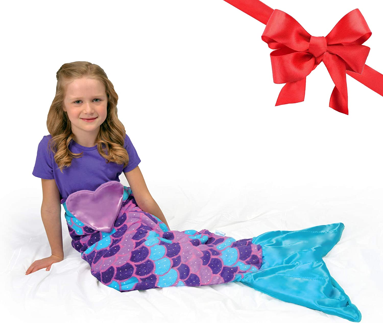 Amazon Com Snuggie Tails Mermaid Blanket Comfy Cozy Super Soft Warm All Season Wearable Blanket For Kids As Seen On Tv Purple Home Kitchen