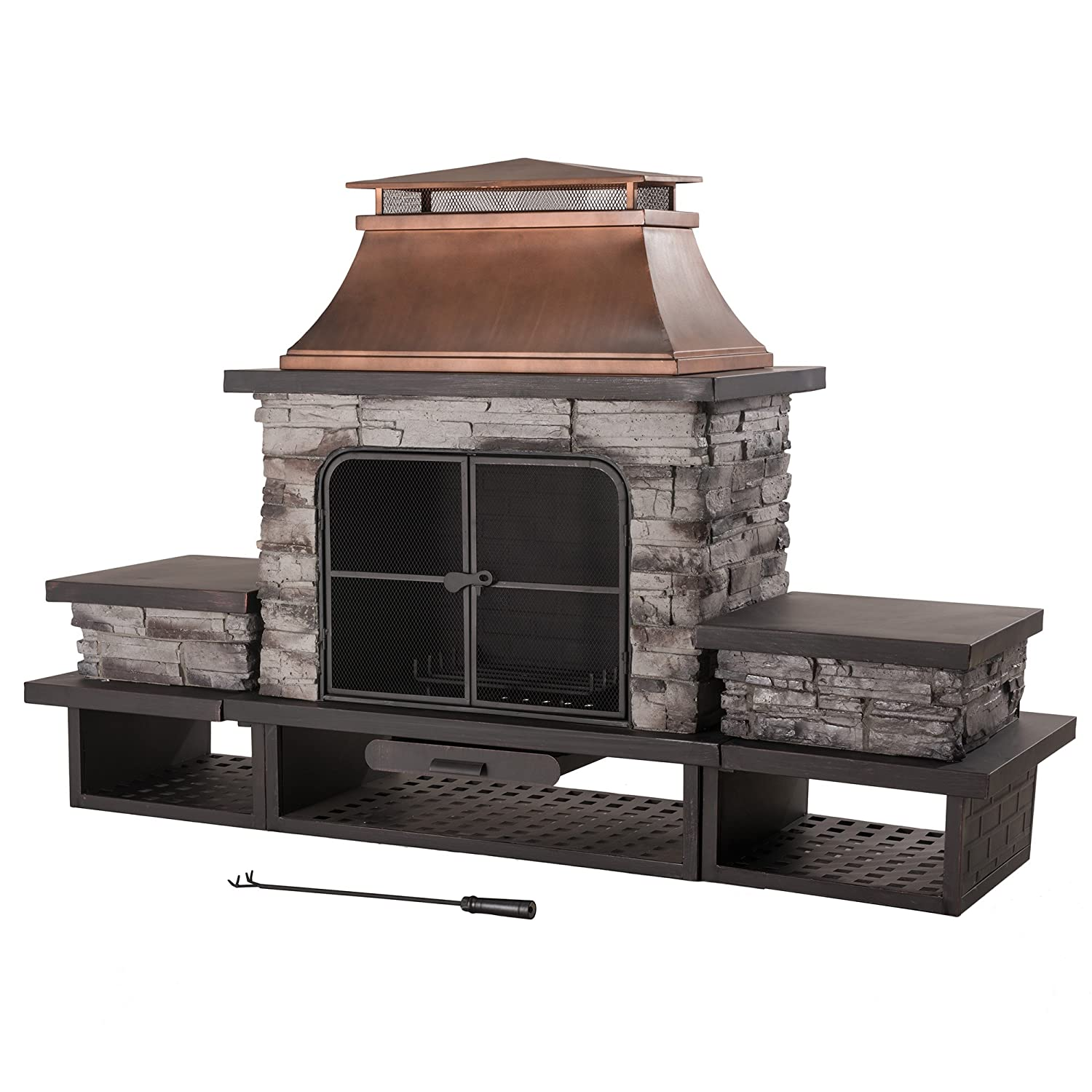 Amazon.com : Sunjoy L OF083PST 2 Stone Fire Place : Patio, Lawn U0026 Garden  Portable Outdoor Fireplace