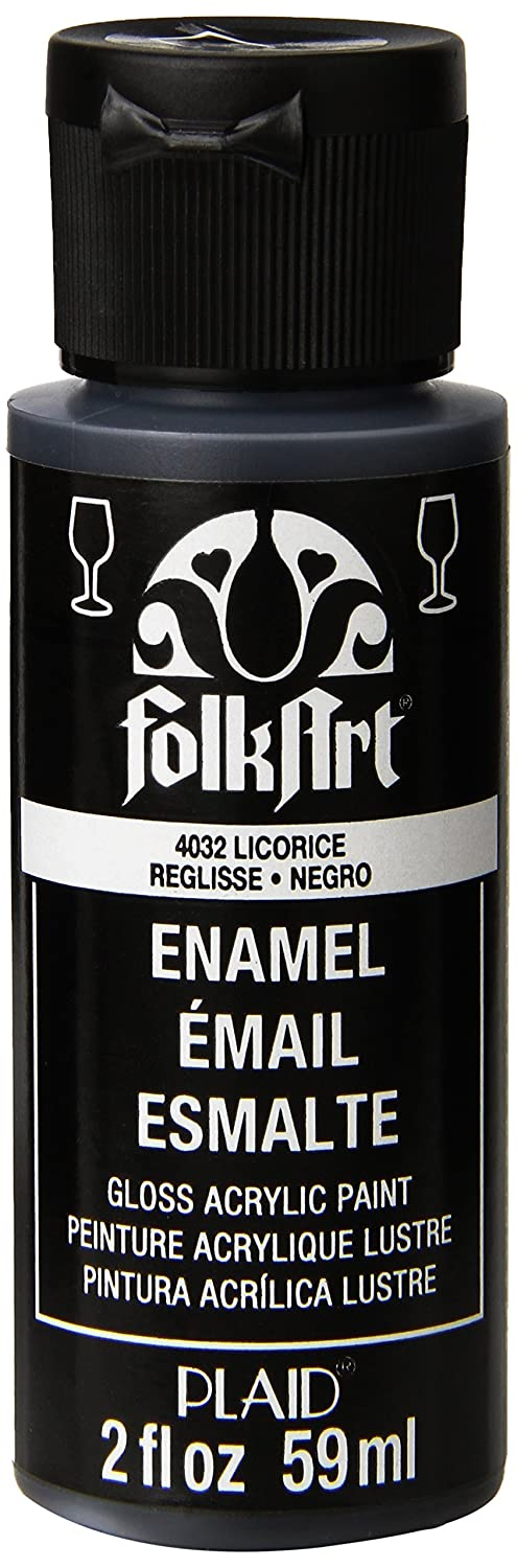 FolkArt Enamel Glass & Ceramic Paint in Assorted Colors (2 oz), 4032, Licorice