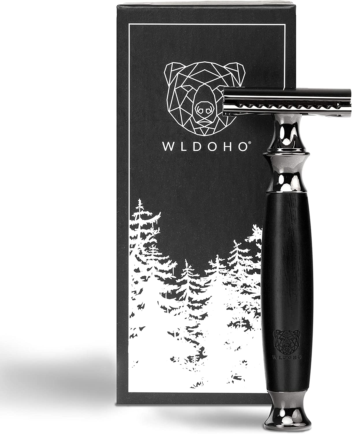 WLDOHO® Double Edge Safety Razor with Natural Ebony Wood Handle for a Gentle Shaving, Zero Waste & Plastic Free I Reusable Eco Razor for Women & Men I Traditional Shaver with 5 Blades