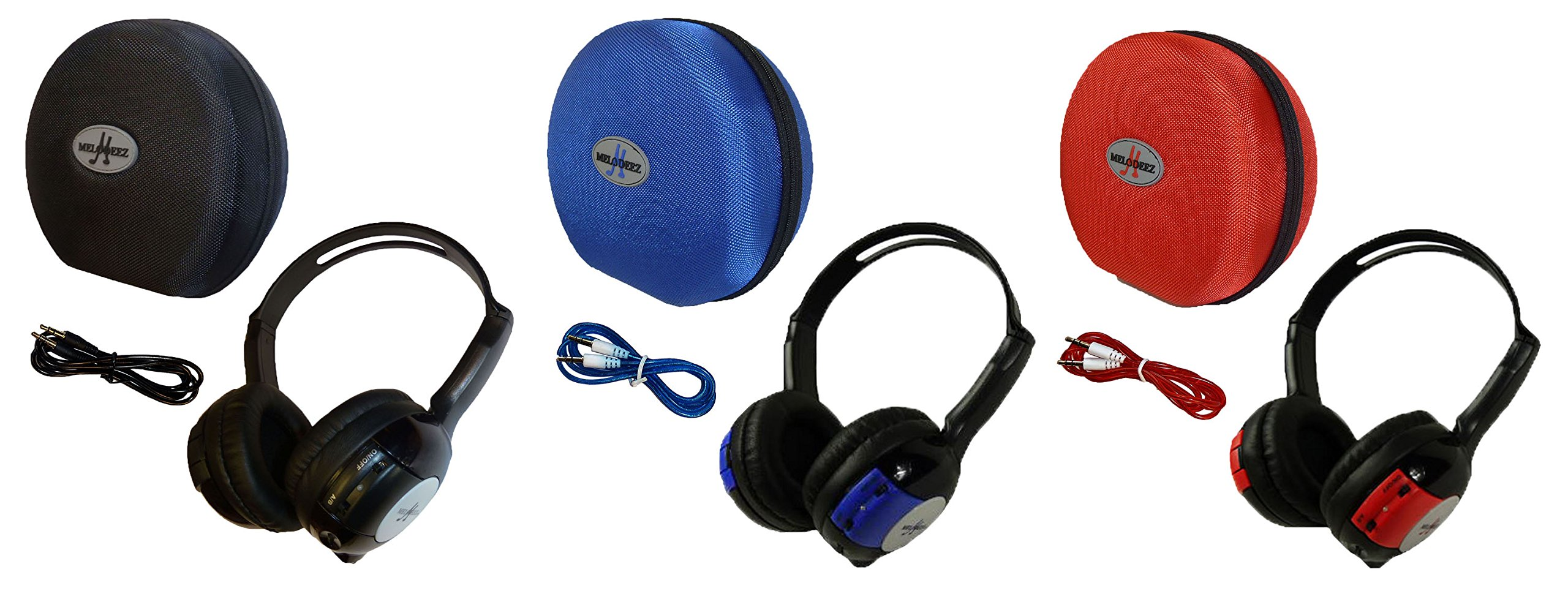 3 Pack Kid Sized Wireless Infrared Car DVD IR Automotive Colored Adjustable 2 Channel Headphones With Case and 3.5mm Auxiliary Cord. Note: Will Not Work on 2017+ GM's or Pacifica by Wisconsin Auto Supply