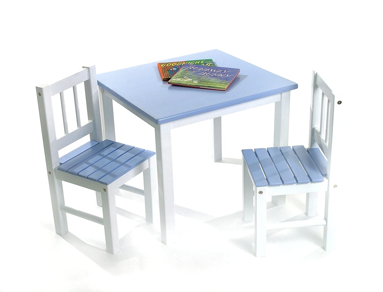 Lipper International 513BL Child's Table and 2 Chairs, Blue and White