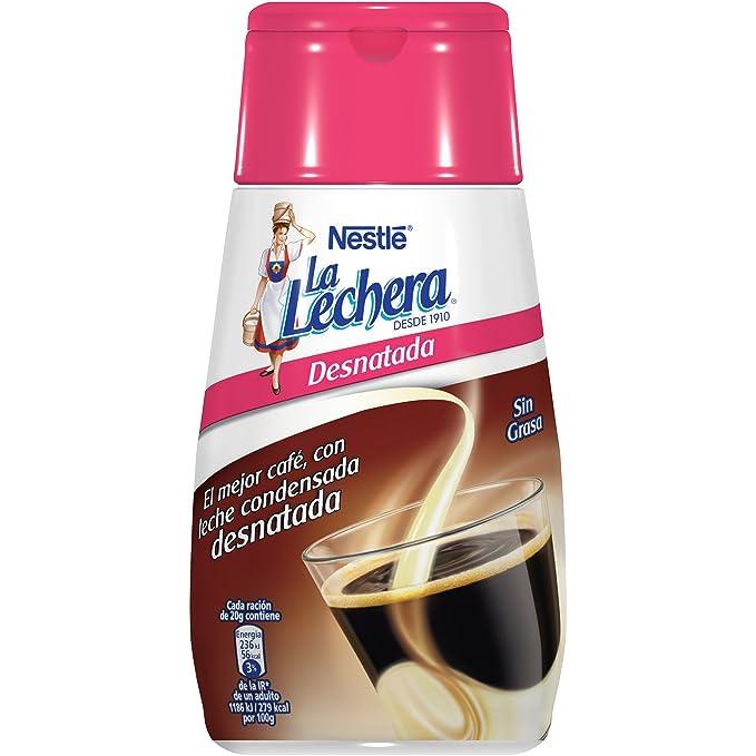 Nestlé La Lechera Leche condensada desnatada - Botella de leche condensada desnatada Sirve Fácil - Caja