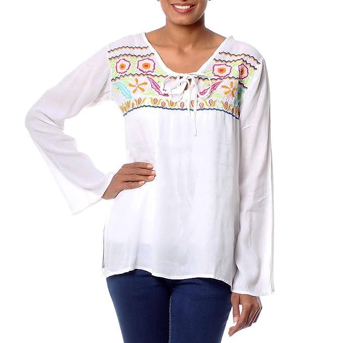 5dca96f2c3a3d3 Amazon.com: NOVICA Multicolor Embroidered Blouse, Bright Bouquet': Clothing