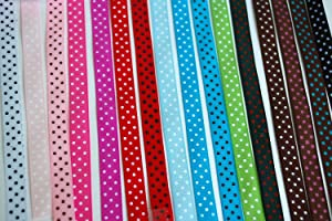 "LaRibbons Polka Dot Grosgrain Ribbon, 3/8"", 16 Colors"