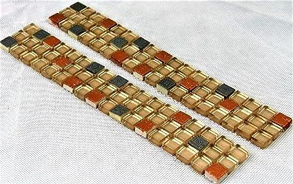 S14b Bordure De Carrelage En Mosaique Avec Verre Et Pierre 298 X 47 X 8 Mm Amazon Fr Bricolage
