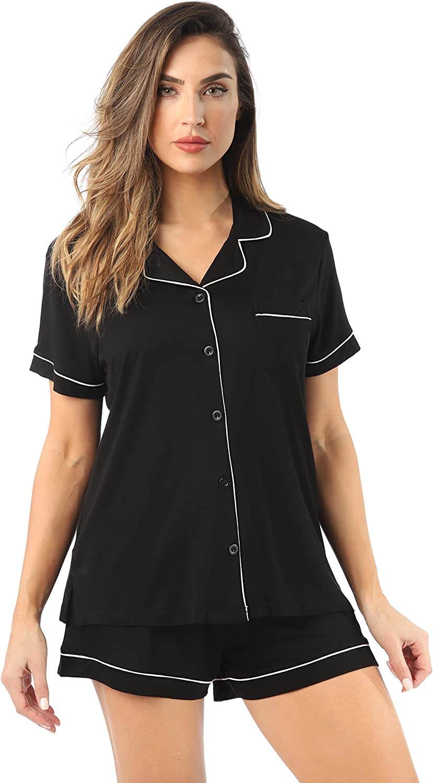 #followme Button Down Pajama Shorts Set with Notch Collar