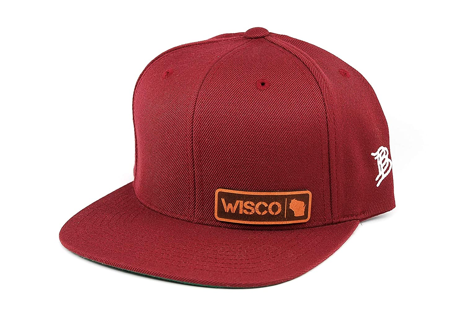 Branded Bills /'Wisconsin Native Leather Patch Hat Snapback Hat OSFA//Maroon