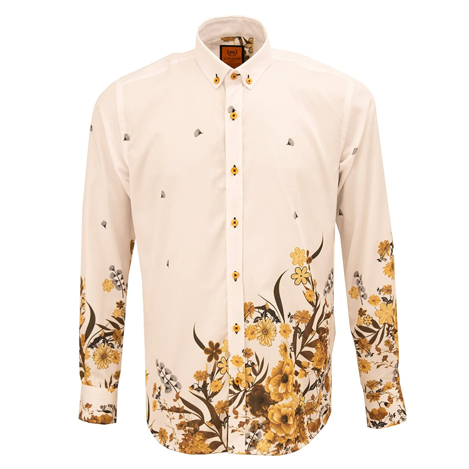 Oscar Banks Floral Placement Print Regular Fit Fashion Long Sleeve