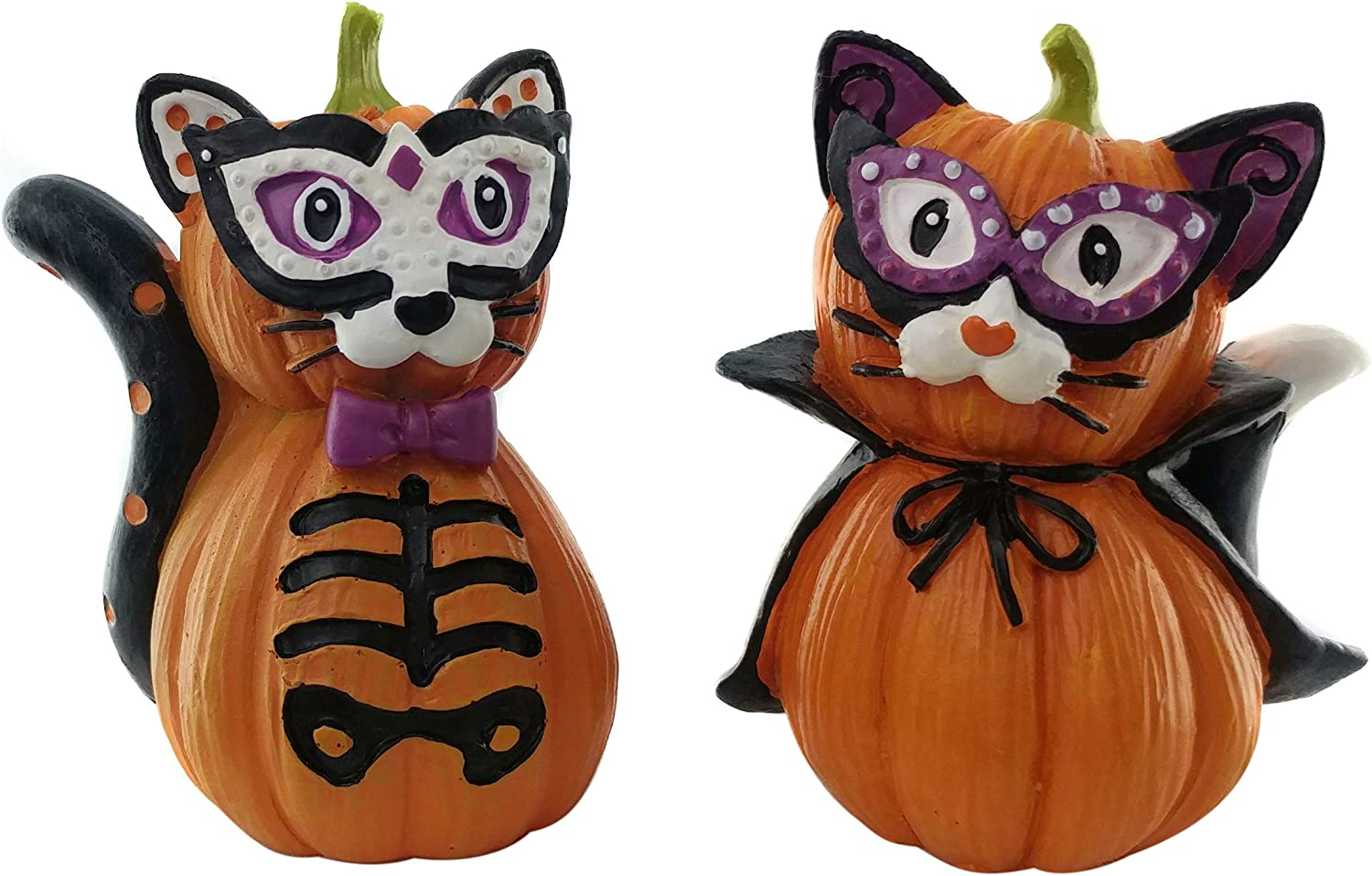 Cat Skeleton and Vampire Party Pumpkin Halloween Cat Decorations | Collectible Cat Pumpkin Shelf Decorations | (2 Pack) for Kitchen, Home and Office Décor