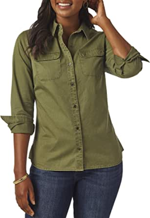Riders by Lee Indigo Womens Heritage Long Sleeve Button Front Solid Twill Shirt Long Sleeve Shirt