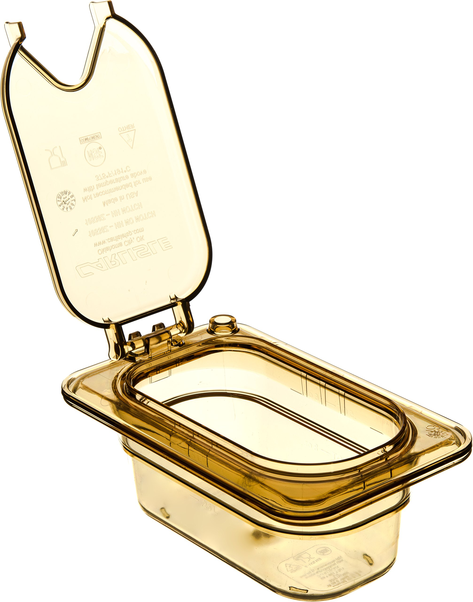 Carlisle 10539Z13 StorPlus EZ Access Hinged High Heat Lid with Handle and Notch, Universal Ninth Size, Amber (Pack of 6) by Carlisle (Image #4)