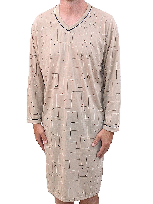 Classic Uomo Camicia da Notte Maniche Lunghe a Quadri