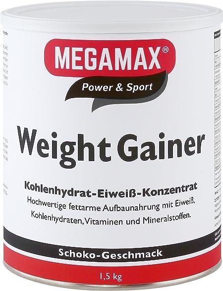 MEGAMAX - Weight Gainer - Suplemento para ganar peso y masa muscular - Chocolate - Solo un 0,7% de grasa - 1,5 kg