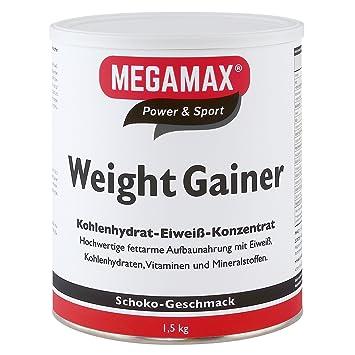 Megamax - Weight Gainer - Suplemento para ganar peso y masa muscular - Chocolate - Solo un 0,7 % de grasa - 1,5 kg: Amazon.es: Deportes y aire libre