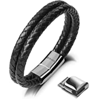 SERASAR | Bracelet en Cuir véritable de qualité supérieure pour Hommes Noir | Fermeture magnétique en Acier Inoxydable Noir et Argent | Coffret à Bijoux Exclusif | Super idée Cadeau