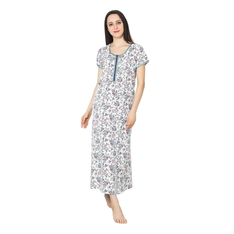 9ce6154b41 Patrorna Women s Blouseon Shift Maternity Nighty Night Dress in White  Floral Print (Size S-7XL