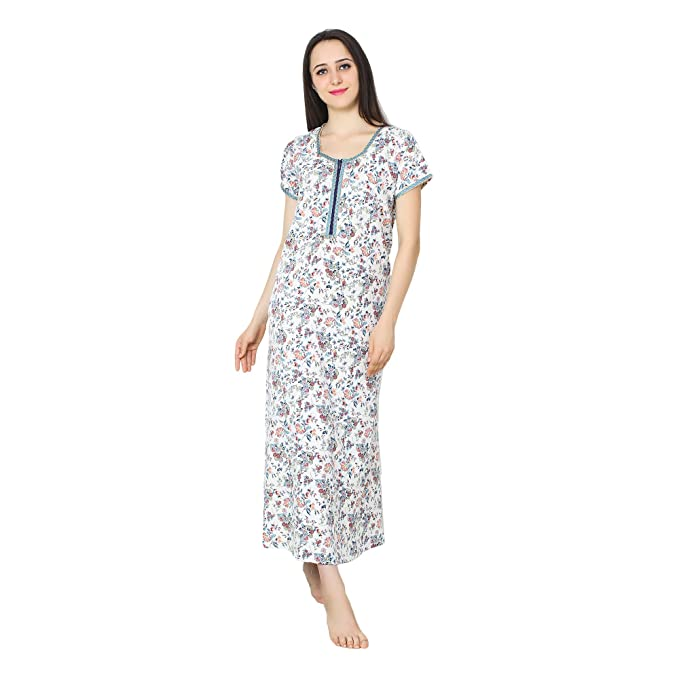 575178d8ee Patrorna Women s Blouseon Shift Maternity Nighty Night Dress in White  Floral Print (Size S