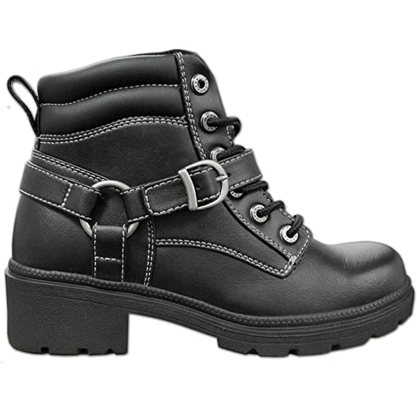 Milwaukee Womens Boots with Lace Front and Zip Closure Black, Size 8