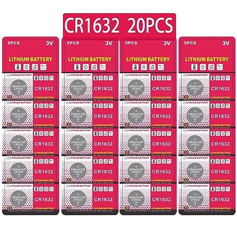 90e053f7dc9900 CR1632 Lithium 3V Batterie, Bouton de Pile Bouton électronique pour Jouets  Calculatrices Montres (20