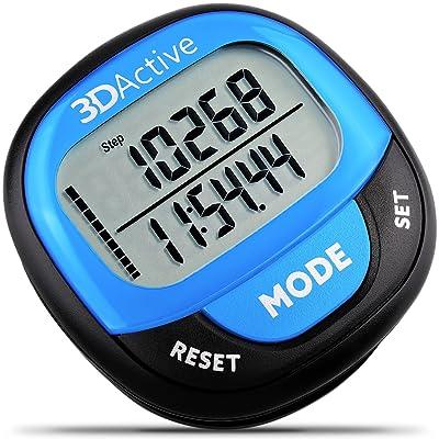 3DActive, podomètre 3D PDA-100| Meilleur podomètre pour la marche avec mémoire sur 30 jours. Compteur de pas précis, compteur de calories, distance en kilomètres et contrôle de l'objec