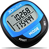 3DActive 3D Pedometer PDA-100| Best Pedometer for Walking with 30-Days Memory. Accurate Step Counter, Calorie Counter, Distance Miles/Km & Daily Target Monitor. Fitness Tracker for Men & Women