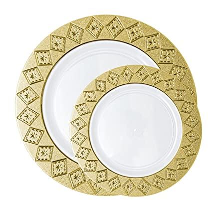 Posh Setting Imperial Collection Combo Pack China Look White/Gold Plastic Plates (Includes 40  sc 1 st  Amazon.com & Amazon.com: Posh Setting Imperial Collection Combo Pack China Look ...
