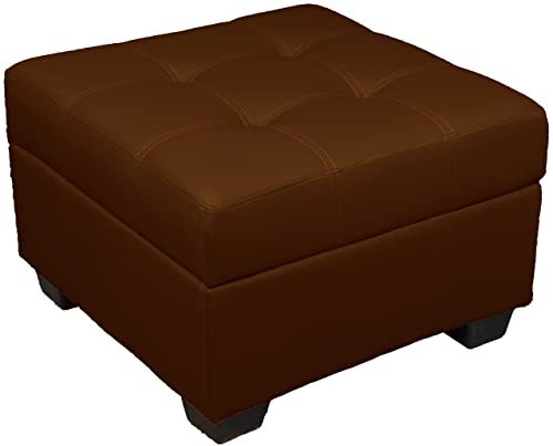Microfiber Suede Upholstered Tufted Padded Hinged Square Storage Ottoman Bench, 24 , Chocolate Brown