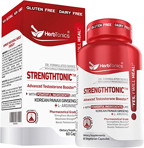 Strengthtonic Testo Booster for Men – Helps Increase T Levels Enhancing Muscle Growth Size, Stamina, Strength with Ginseng Tribulus Terrestris for Male Pre Post Workout Bodybuilding 60 Capsules
